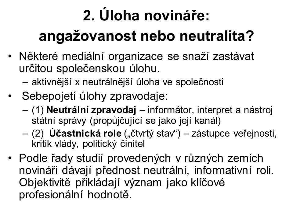 2. Úloha novináře: angažovanost nebo neutralita