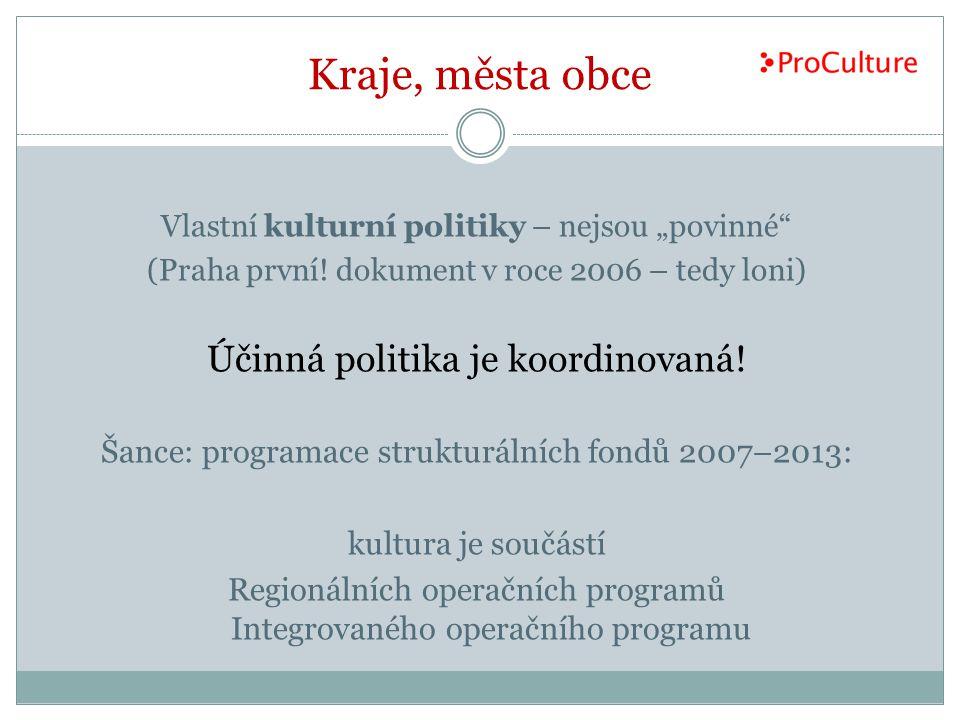 Kraje, města obce Účinná politika je koordinovaná!