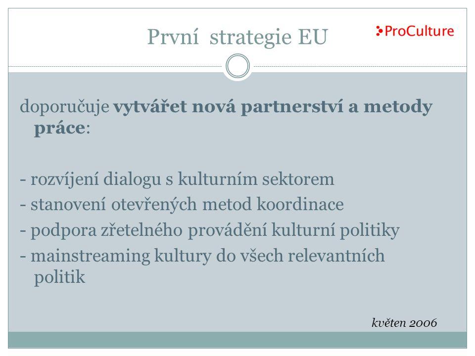 První strategie EU doporučuje vytvářet nová partnerství a metody práce: - rozvíjení dialogu s kulturním sektorem.