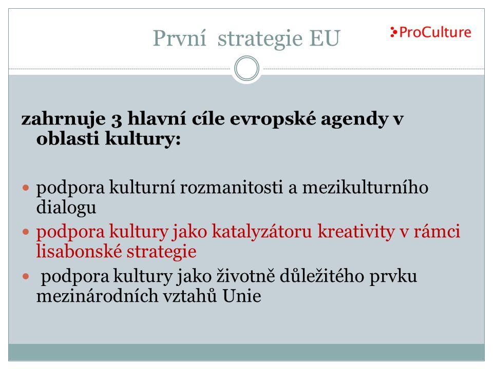První strategie EU zahrnuje 3 hlavní cíle evropské agendy v oblasti kultury: podpora kulturní rozmanitosti a mezikulturního dialogu.
