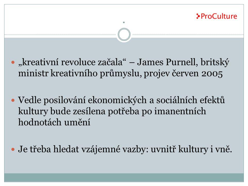 """. """"kreativní revoluce začala – James Purnell, britský ministr kreativního průmyslu, projev červen 2005."""