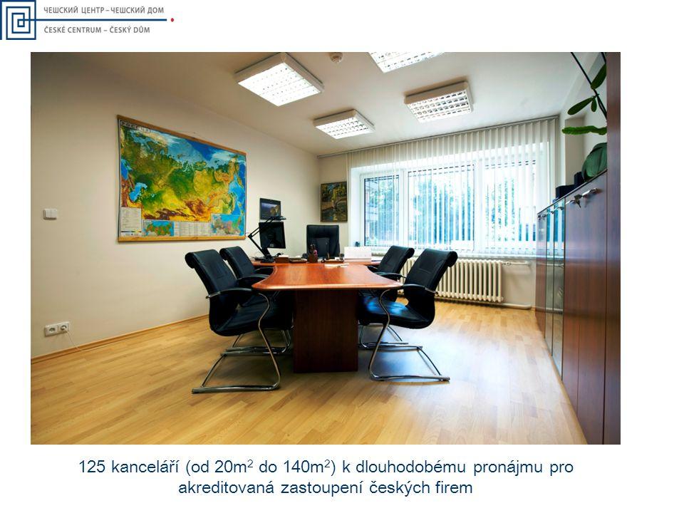 125 kanceláří (od 20m2 do 140m2) k dlouhodobému pronájmu pro akreditovaná zastoupení českých firem