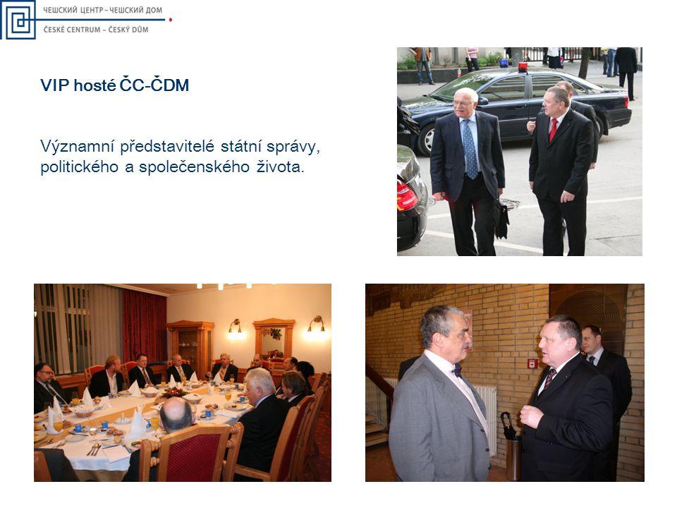 VIP hosté ČC-ČDM Významní představitelé státní správy, politického a společenského života.