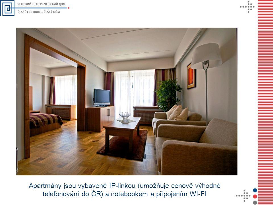 Apartmány jsou vybavené IP-linkou (umožňuje cenově výhodné telefonování do ČR) a notebookem a připojením WI-FI