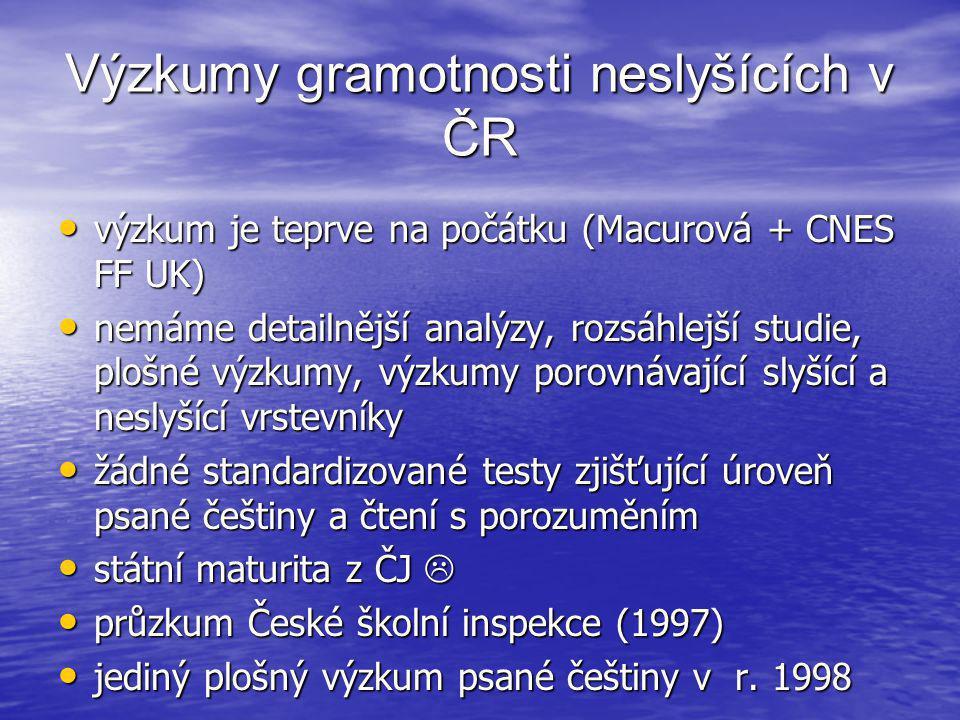 Výzkumy gramotnosti neslyšících v ČR