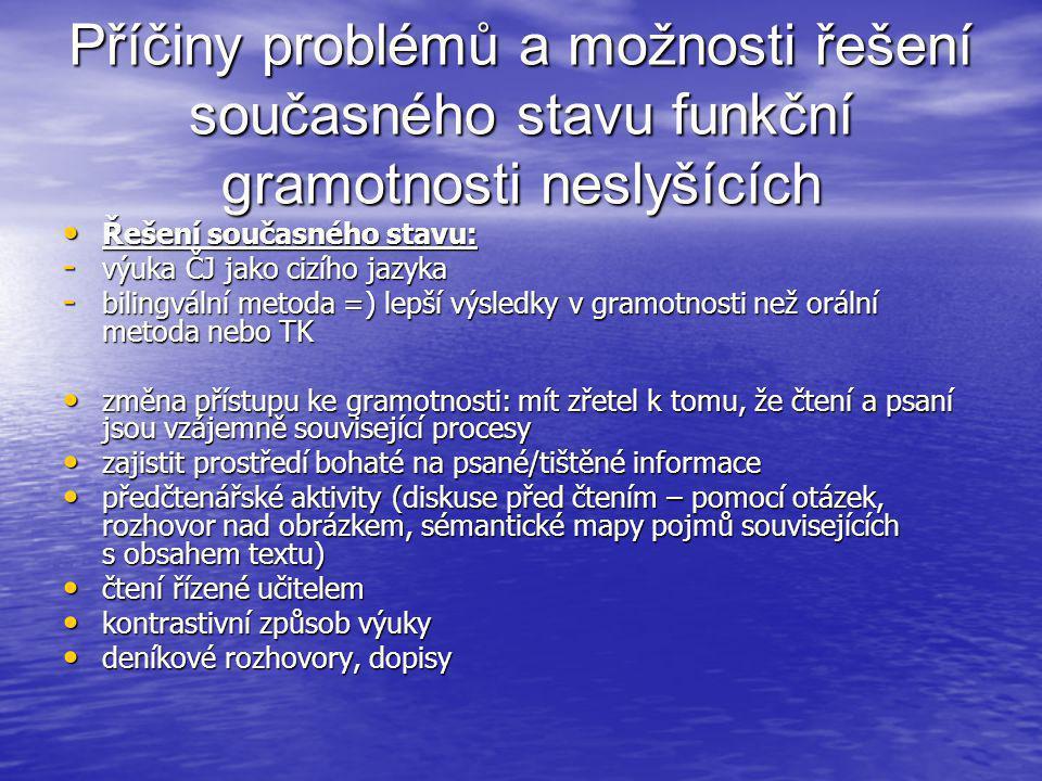 Příčiny problémů a možnosti řešení současného stavu funkční gramotnosti neslyšících