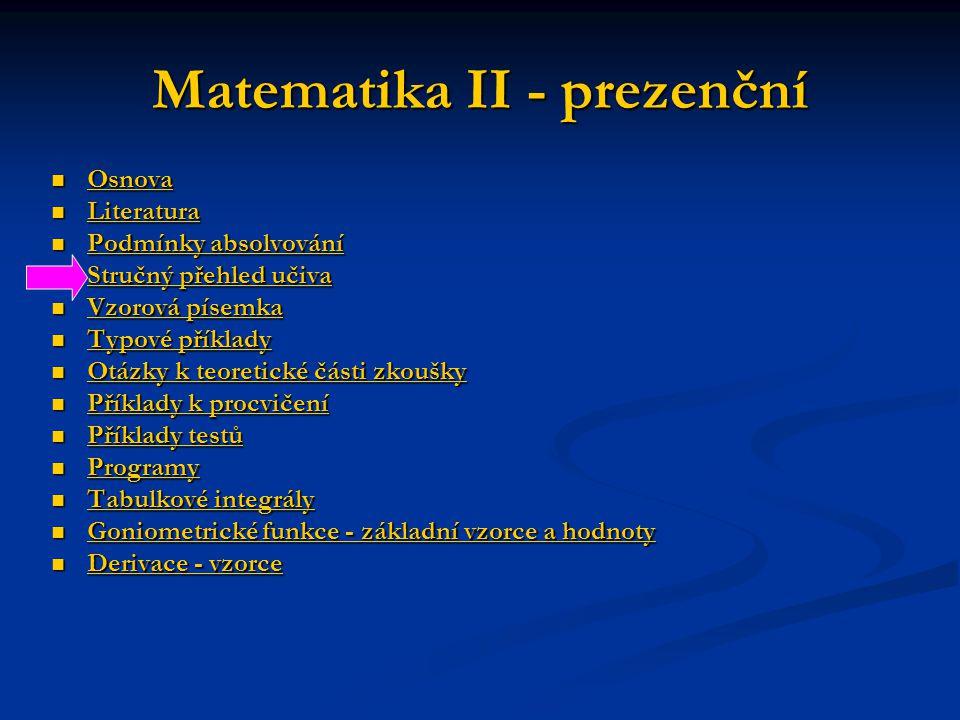Matematika II - prezenční