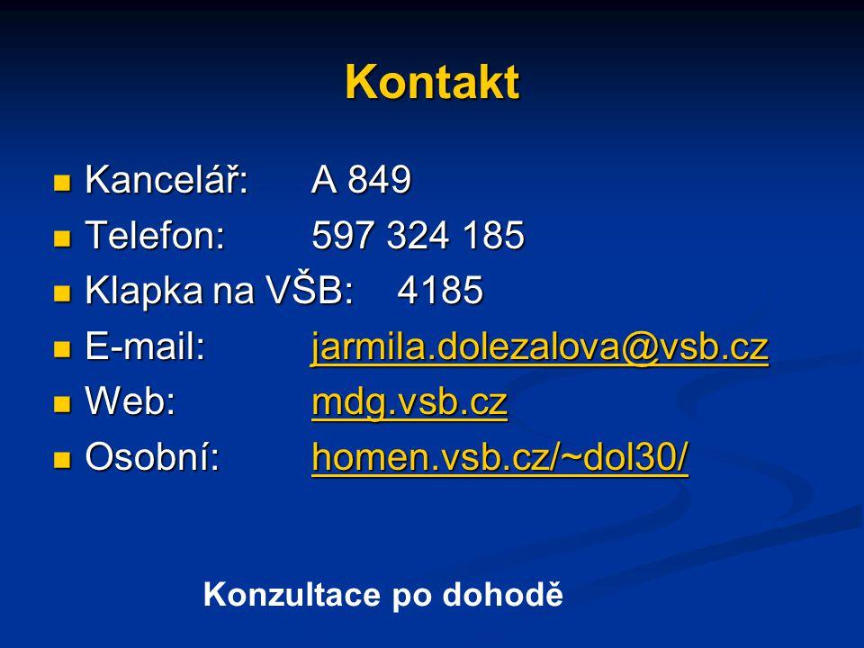 Kontakt Kancelář: A 849 Telefon: 597 324 185 Klapka na VŠB: 4185