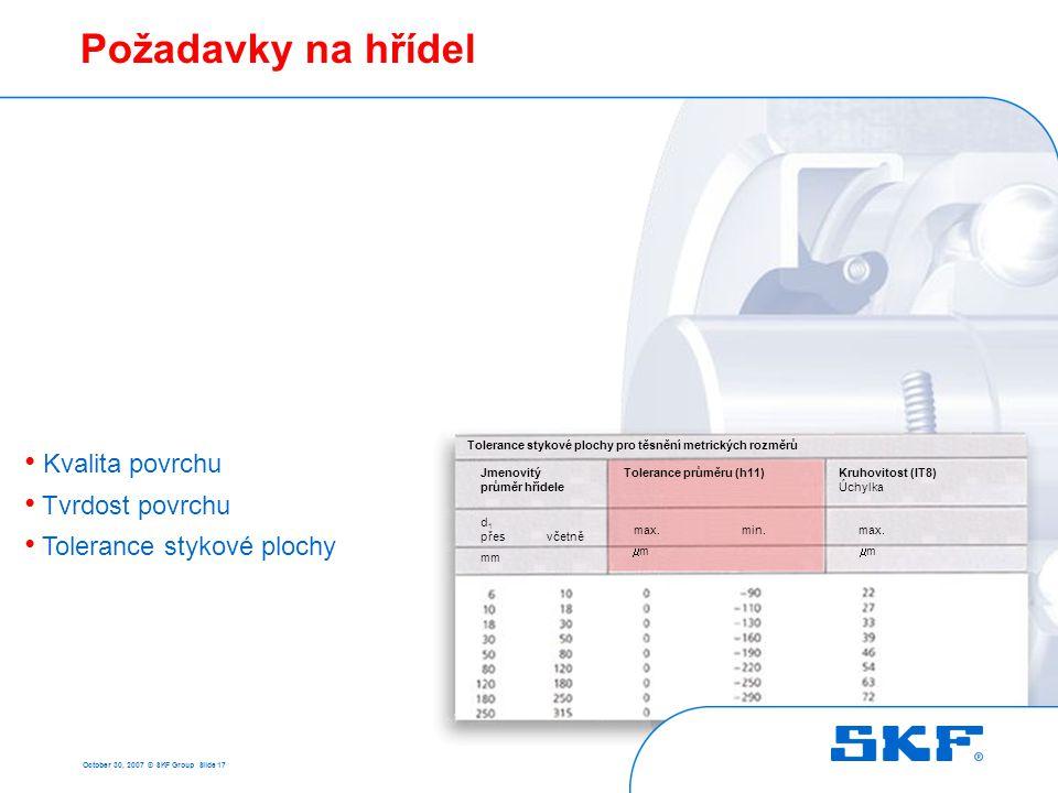 Požadavky na hřídel Kvalita povrchu Tvrdost povrchu