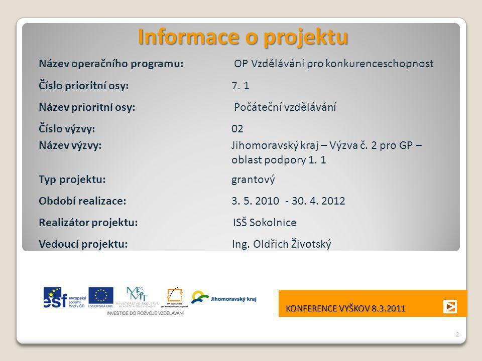 Informace o projektu Název operačního programu: OP Vzdělávání pro konkurenceschopnost. Číslo prioritní osy: 7. 1.