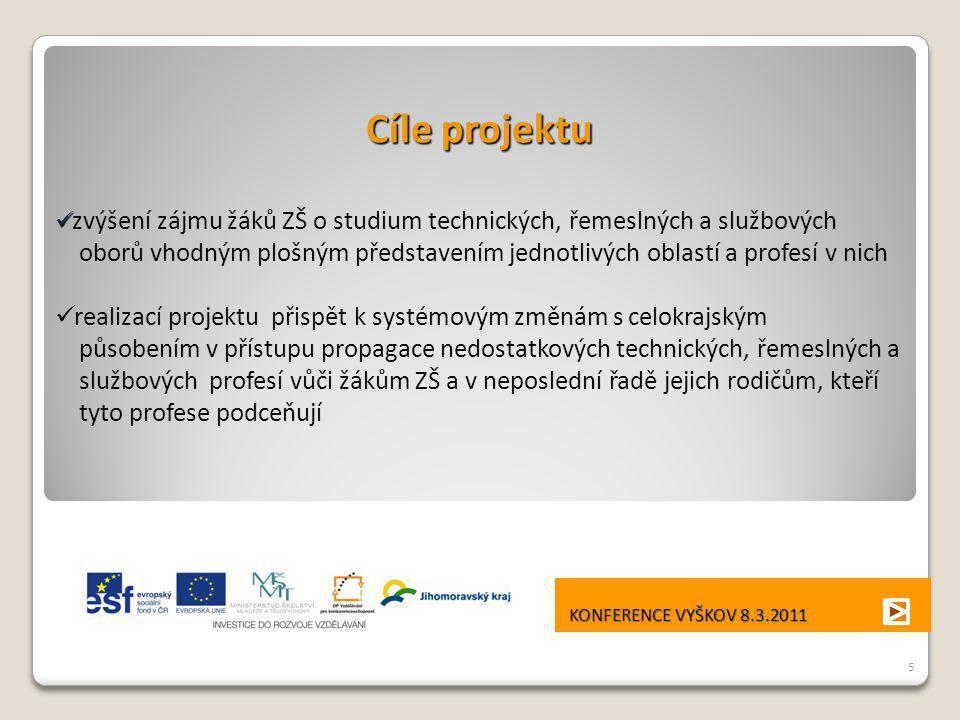 Cíle projektu zvýšení zájmu žáků ZŠ o studium technických, řemeslných a službových.