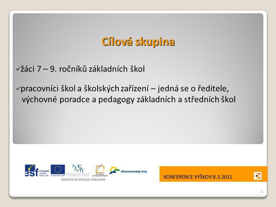 Cílová skupina výchovné poradce a pedagogy základních a středních škol