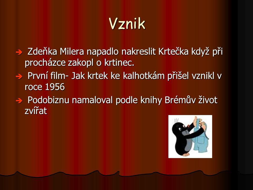 Vznik Zdeňka Milera napadlo nakreslit Krtečka když při procházce zakopl o krtinec. První film- Jak krtek ke kalhotkám přišel vznikl v roce 1956.