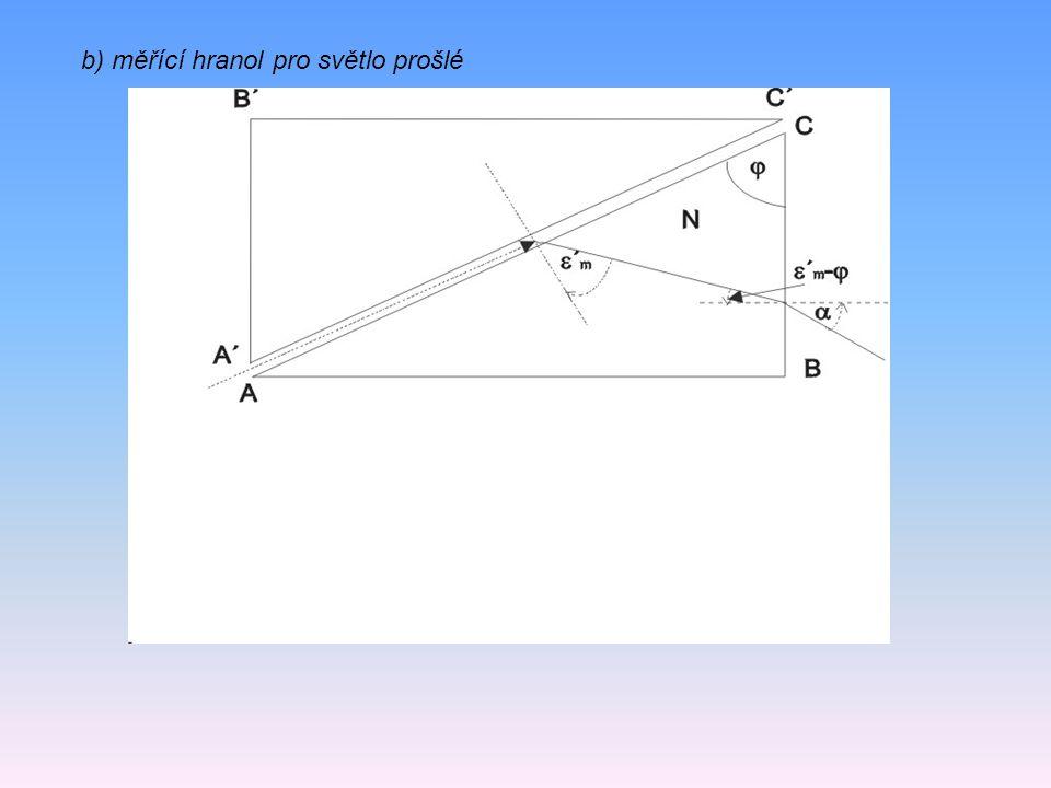 b) měřící hranol pro světlo prošlé