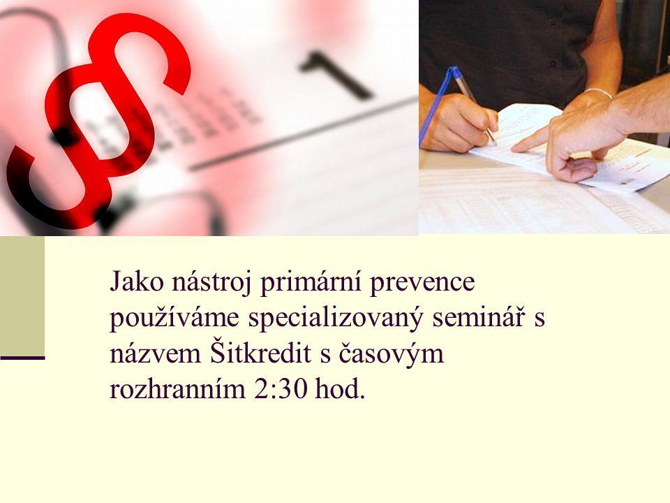 Jako nástroj primární prevence používáme specializovaný seminář s názvem Šitkredit s časovým rozhranním 2:30 hod.