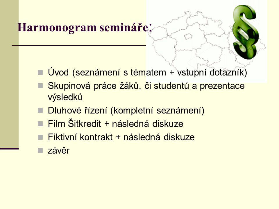 Harmonogram semináře: