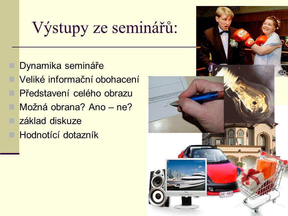 Výstupy ze seminářů: Dynamika semináře Veliké informační obohacení