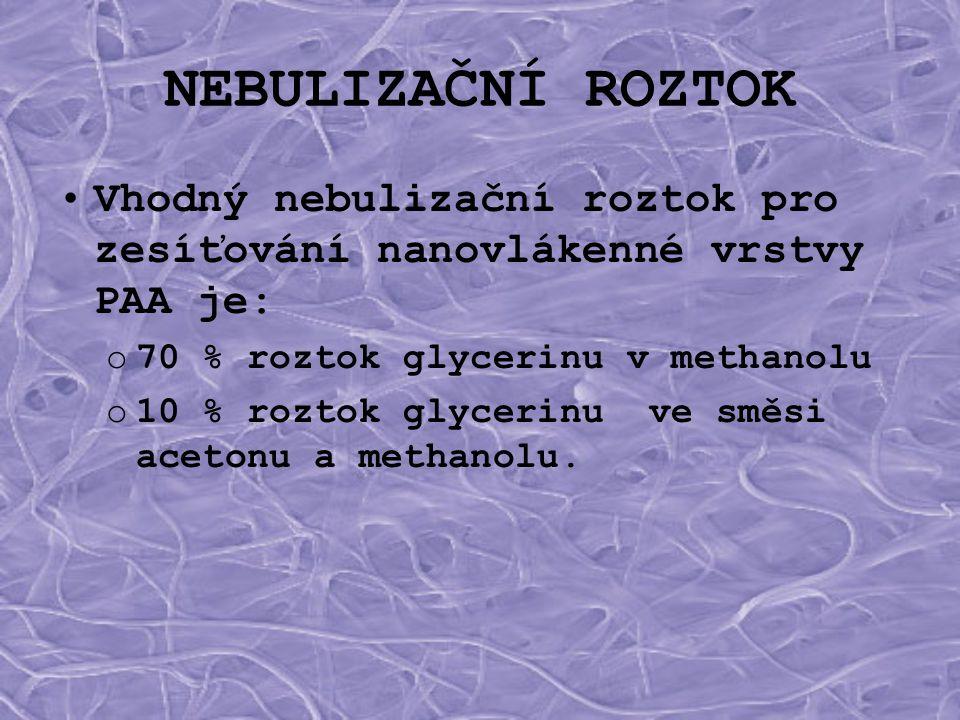 NEBULIZAČNÍ ROZTOK Vhodný nebulizační roztok pro zesíťování nanovlákenné vrstvy PAA je: 70 % roztok glycerinu v methanolu.