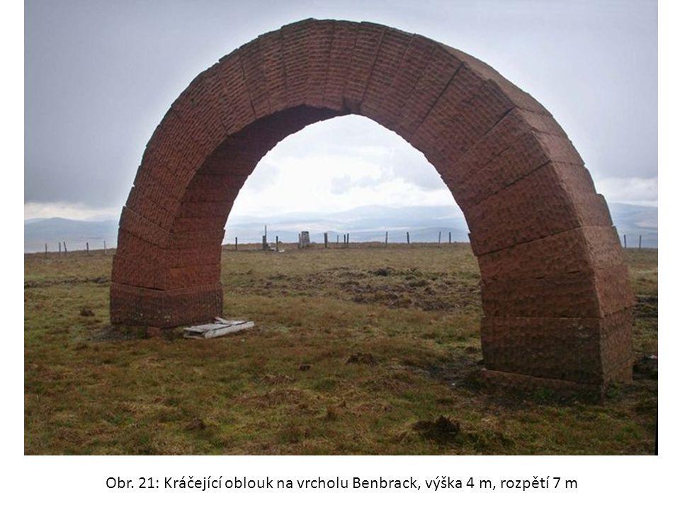 Obr. 21: Kráčející oblouk na vrcholu Benbrack, výška 4 m, rozpětí 7 m