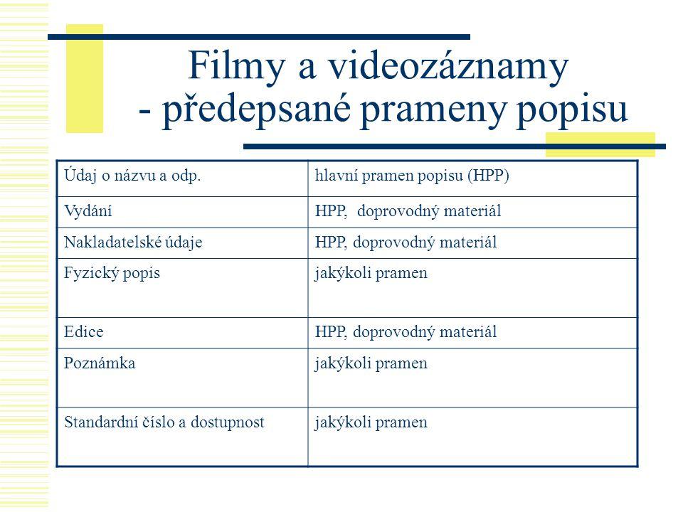 Filmy a videozáznamy - předepsané prameny popisu