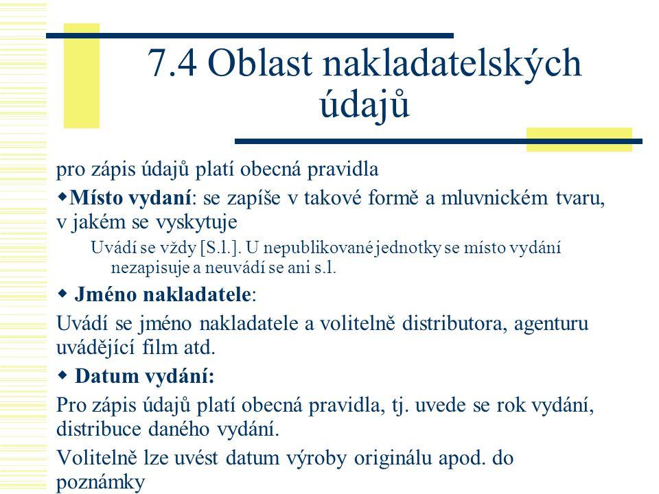 7.4 Oblast nakladatelských údajů