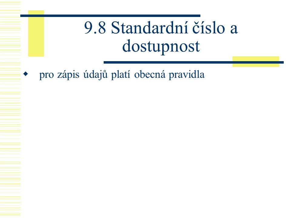 9.8 Standardní číslo a dostupnost