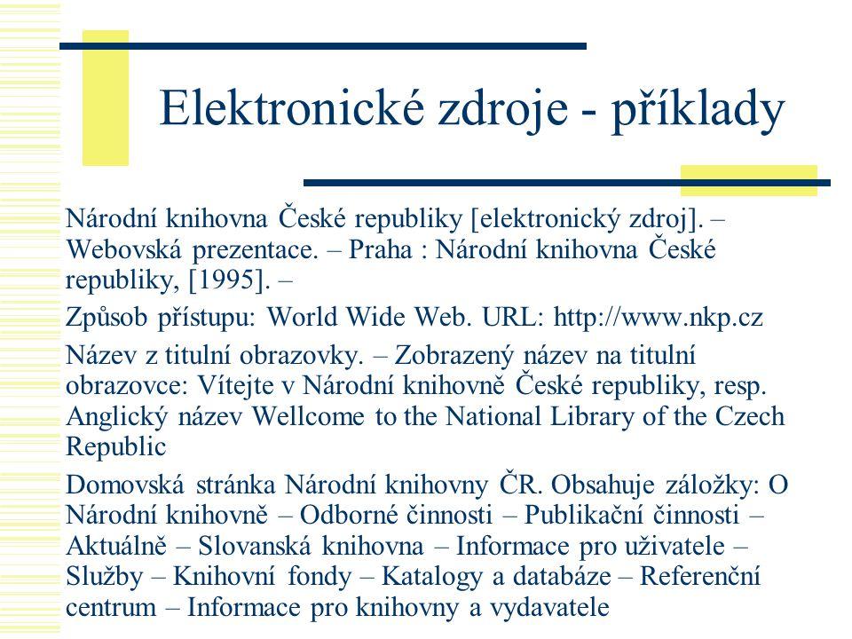Elektronické zdroje - příklady