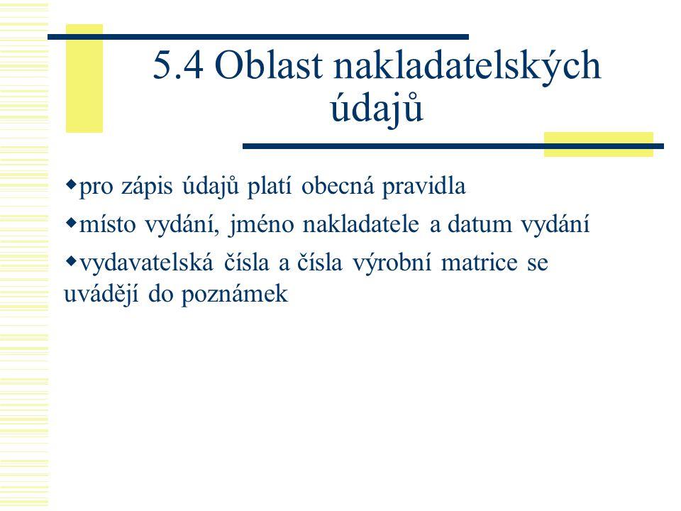 5.4 Oblast nakladatelských údajů