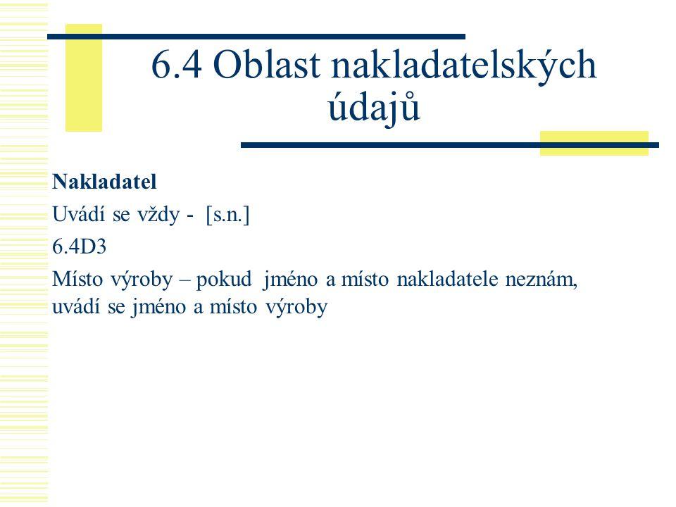 6.4 Oblast nakladatelských údajů