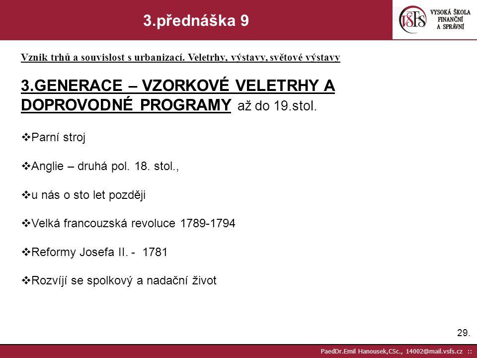 3.GENERACE – VZORKOVÉ VELETRHY A DOPROVODNÉ PROGRAMY až do 19.stol.