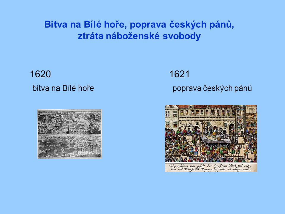 Bitva na Bílé hoře, poprava českých pánů, ztráta náboženské svobody