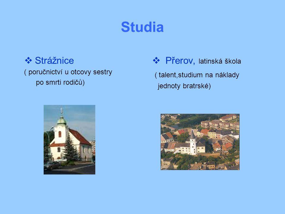 Studia Strážnice Přerov, latinská škola ( talent,studium na náklady