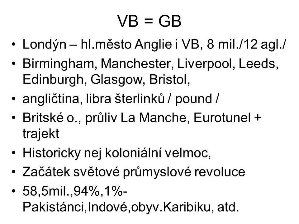 VB = GB Londýn – hl.město Anglie i VB, 8 mil./12 agl./