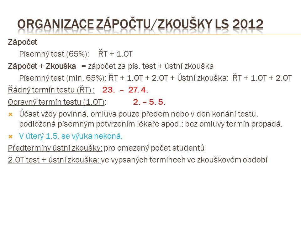 Organizace zápočtu/zkoušky LS 2012