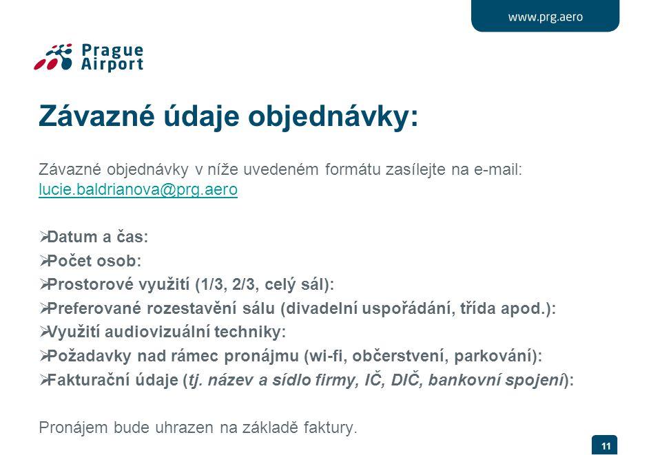 Závazné údaje objednávky: