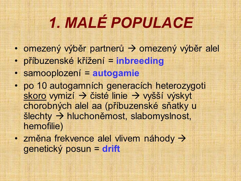 1. MALÉ POPULACE omezený výběr partnerů  omezený výběr alel