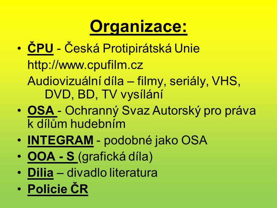 Organizace: ČPU - Česká Protipirátská Unie http://www.cpufilm.cz