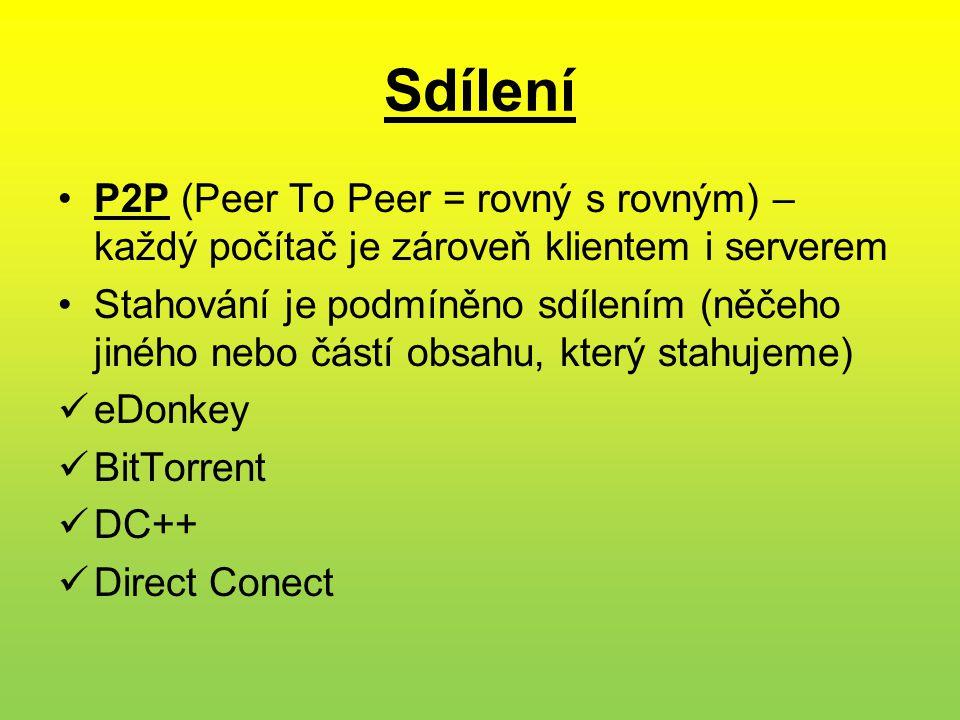 Sdílení P2P (Peer To Peer = rovný s rovným) – každý počítač je zároveň klientem i serverem.