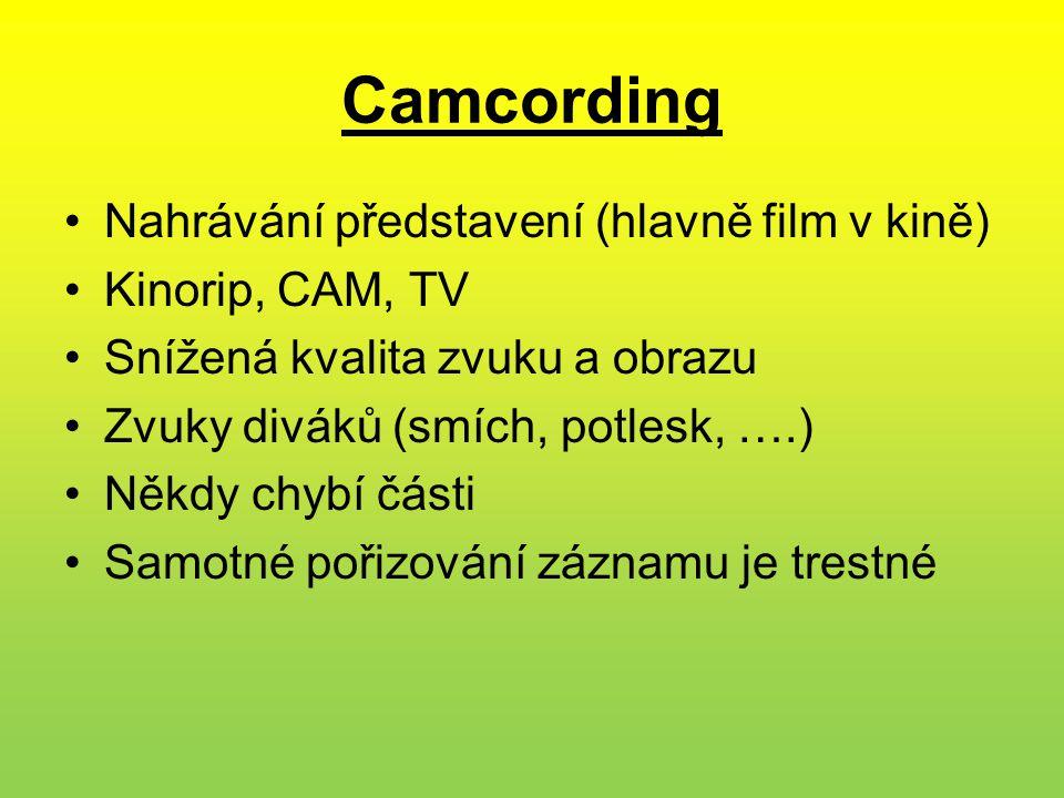 Camcording Nahrávání představení (hlavně film v kině) Kinorip, CAM, TV