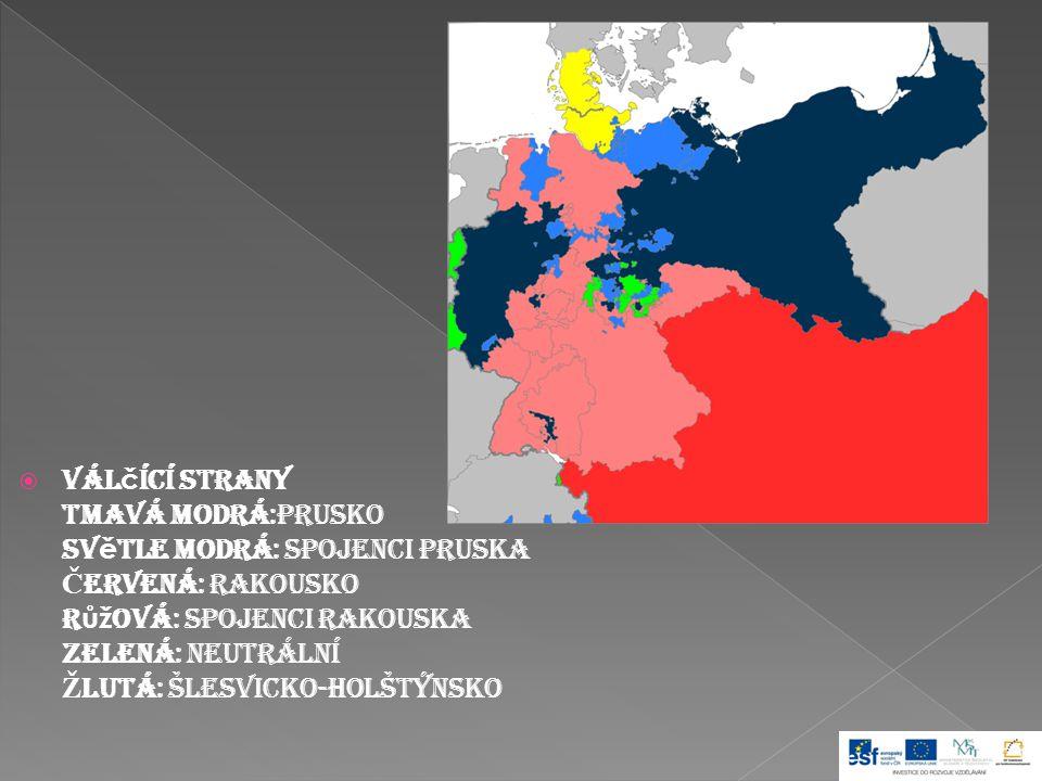 Válčící strany Tmavá modrá:Prusko Světle modrá: Spojenci Pruska Červená: Rakousko Růžová: Spojenci Rakouska Zelená: Neutrální Žlutá: Šlesvicko-Holštýnsko