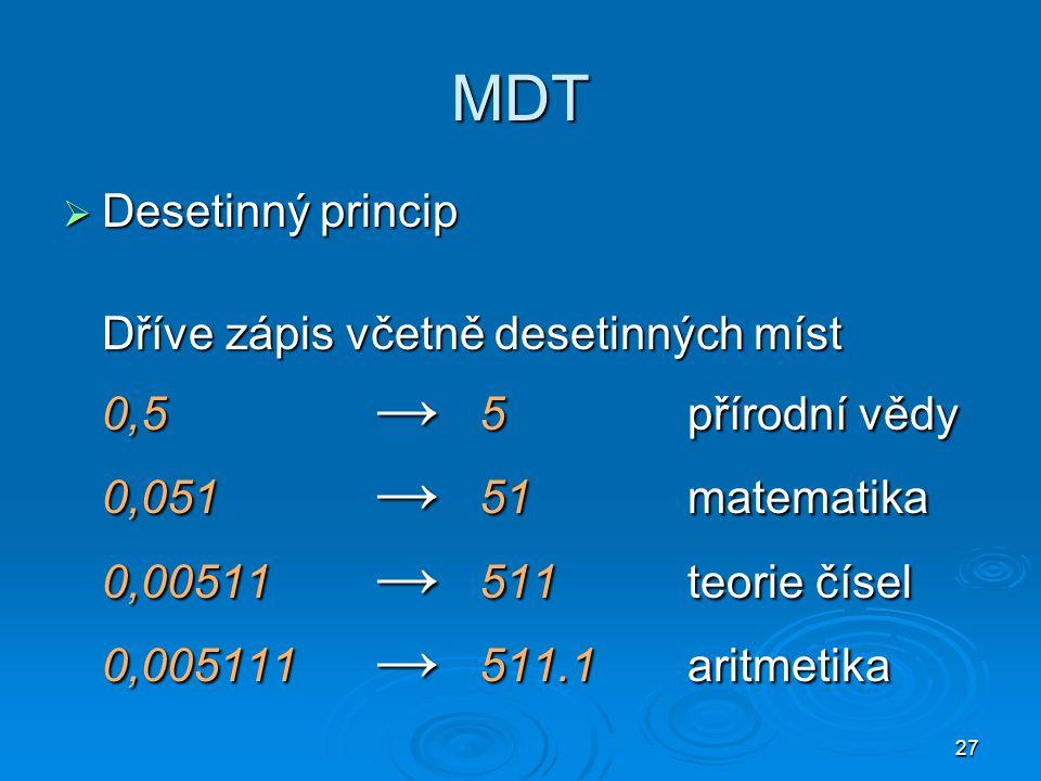 MDT Desetinný princip Dříve zápis včetně desetinných míst