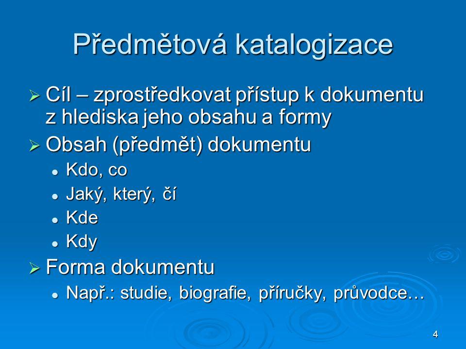Předmětová katalogizace
