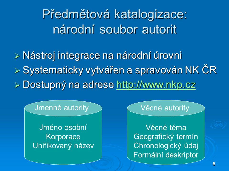 Předmětová katalogizace: národní soubor autorit