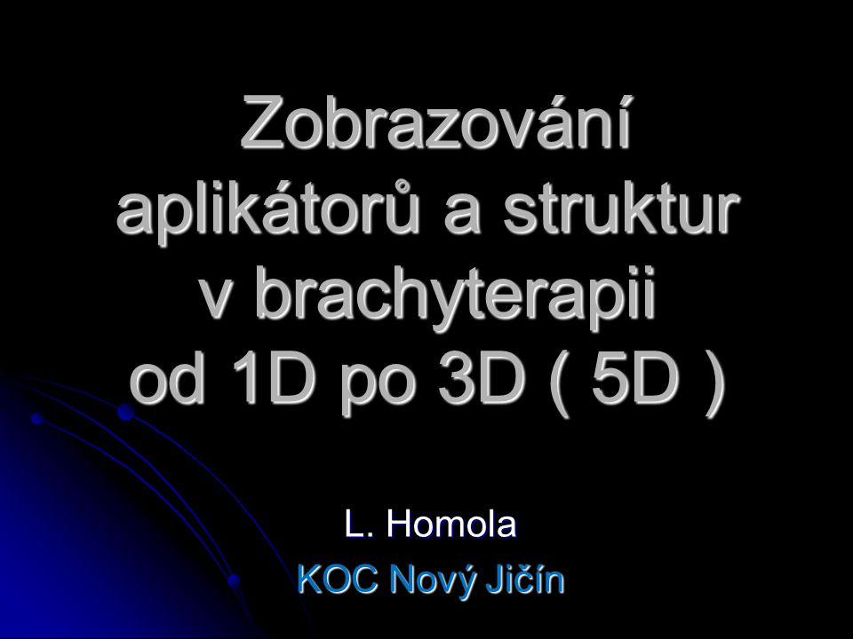 Zobrazování aplikátorů a struktur v brachyterapii od 1D po 3D ( 5D )