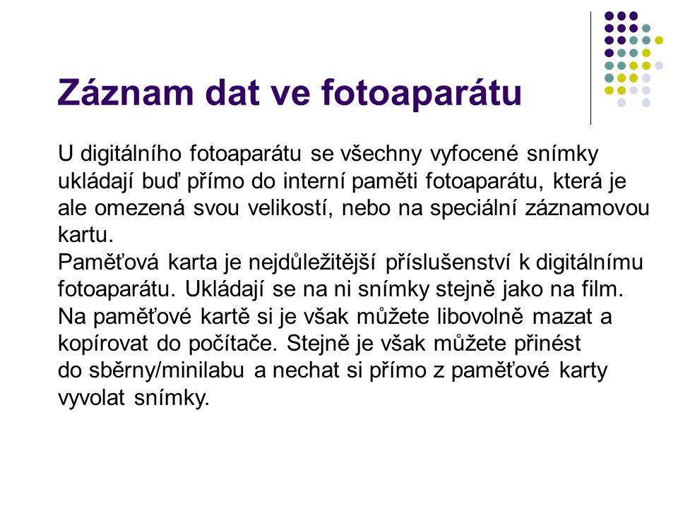 Záznam dat ve fotoaparátu