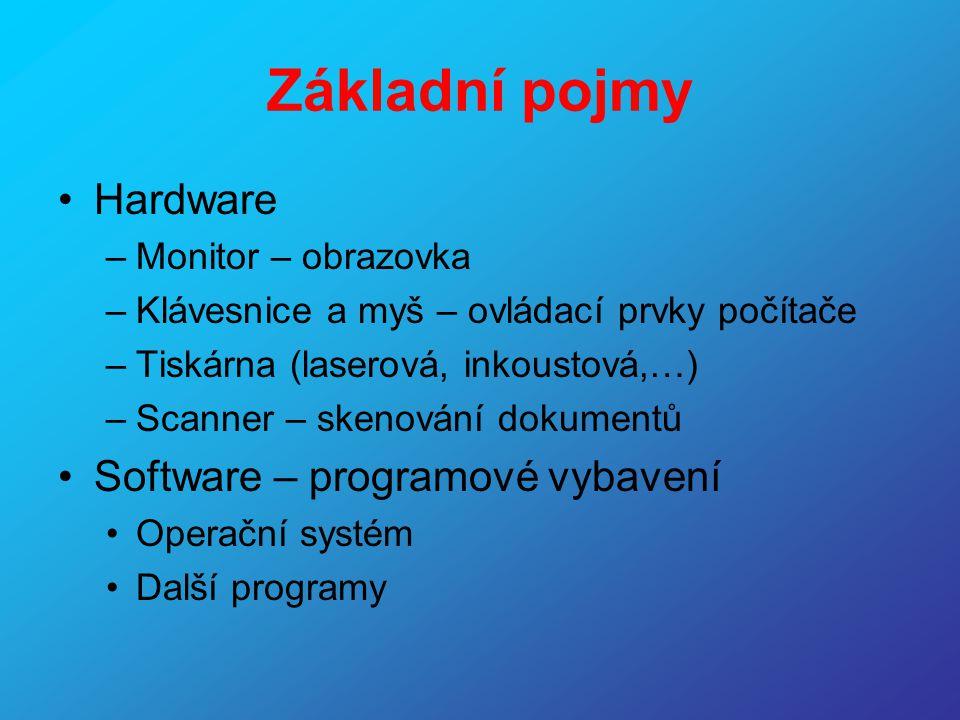 Základní pojmy Hardware Software – programové vybavení
