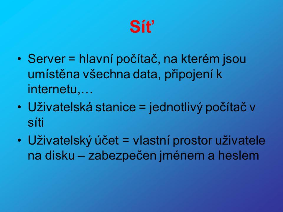 Síť Server = hlavní počítač, na kterém jsou umístěna všechna data, připojení k internetu,… Uživatelská stanice = jednotlivý počítač v síti.
