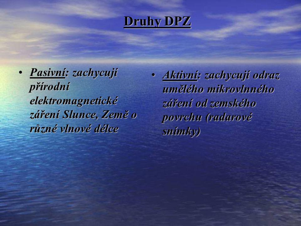 Druhy DPZ Pasivní: zachycují přírodní elektromagnetické záření Slunce, Země o různé vlnové délce.