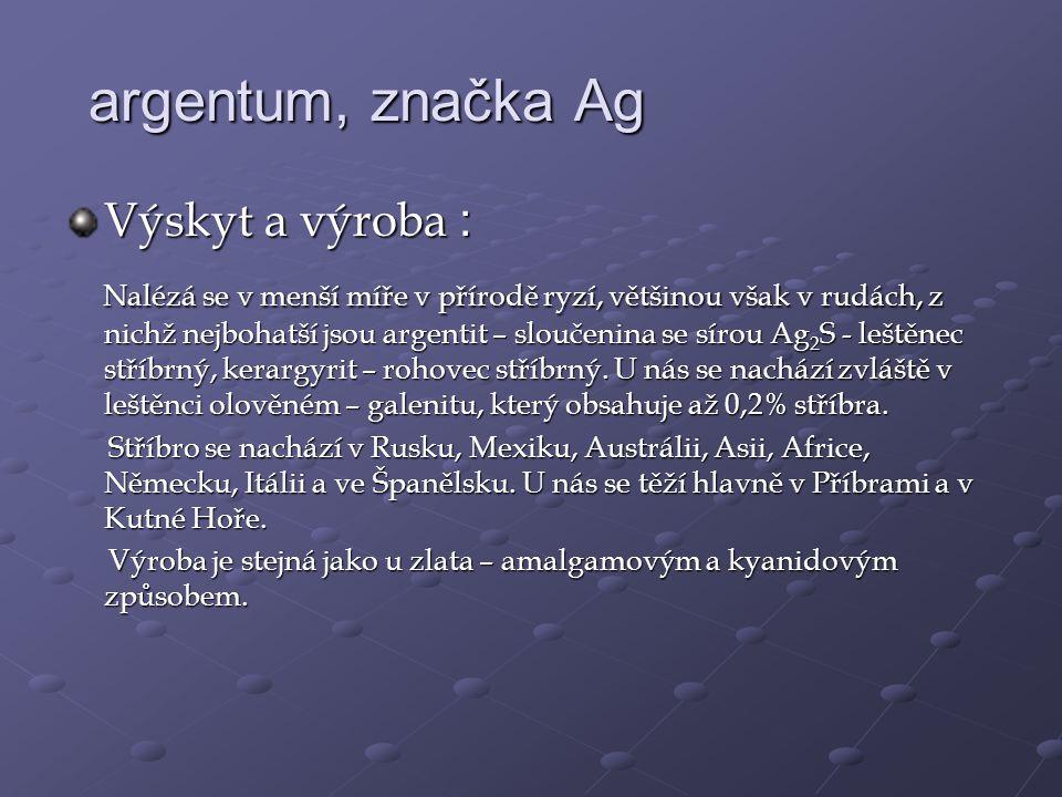 argentum, značka Ag Výskyt a výroba :