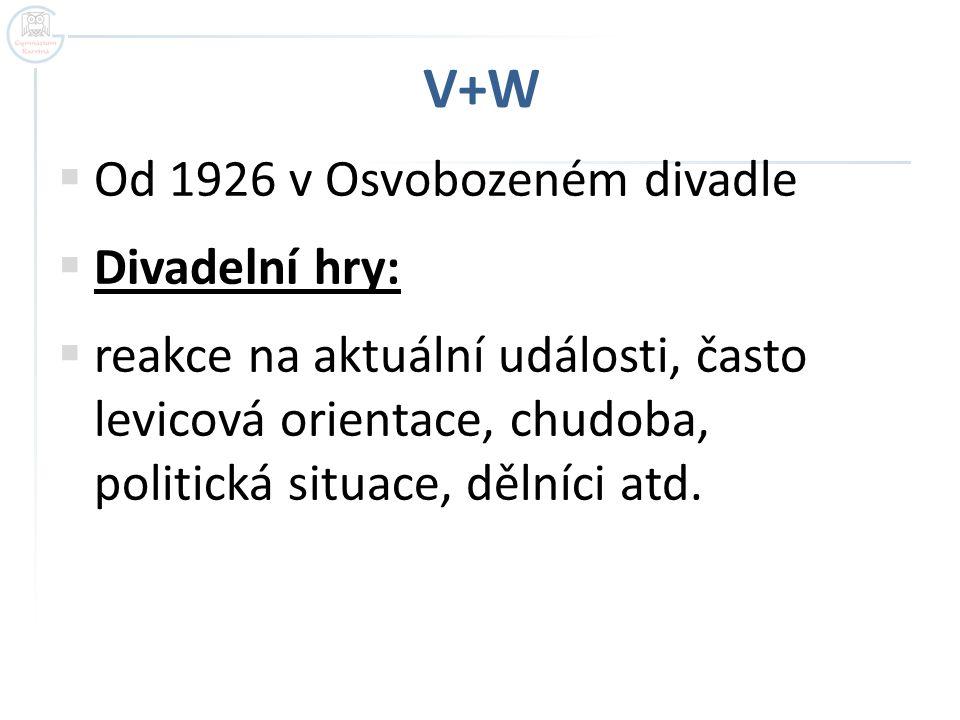 V+W Od 1926 v Osvobozeném divadle Divadelní hry: